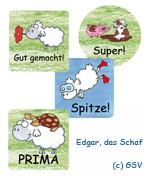 """Belohnungs-Aufkleber """"Edgar, das Schaf"""", 4 Motive (192 Stck.)"""