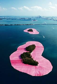 Kunstdruck Schule: Christo und Jeanne-Claude - Surrounded Islands, Miami, Florida (1980-83)