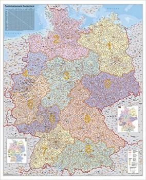 Deutschland Postleitzahlenkarte, Stiefel Wandkarte 67 x 85 cm, Poster, laminiert