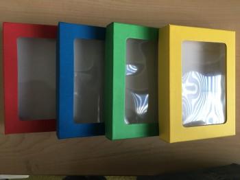 Aufbewahrungsbox, Fensterbox, Spielebox, DIN A6+, blau