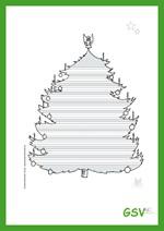 Kostenloser Download - Schreibblatt Weihnachtsbaum (Lineatur 1)