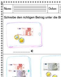 Kostenloser Download - Arbeitsblatt Rechnen mit Euro bis 20 (1)