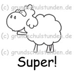 """Belohnungs-Stempel, Edgar, das Schaf, """"Super!"""""""
