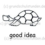 "Belohnungs-Stempel, englisch, turtle Emmi ""good idea"""