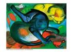 Kunstdruck Schule: Marc, Franz - Zwei Katzen, blau und gelb (1912)