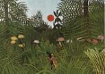 Kunstdruck Schule: Rousseau, Henri - Urwaldlandschaft mit untergehender Sonne (1910)