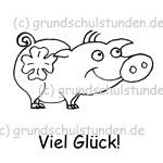 """Belohnungs-Stempel, Schweinchen """"Viel Glück"""""""